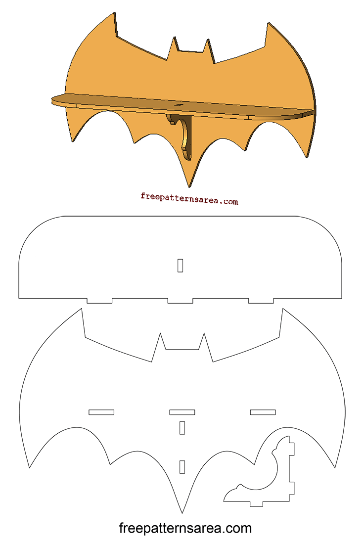 Laser Cutting Batman Wall Shelf Woodworking Plan ...