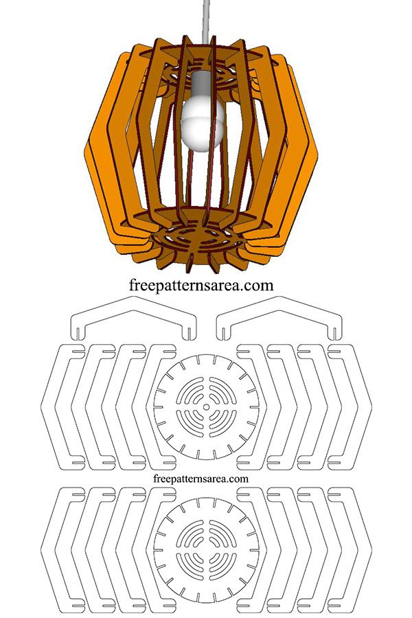 Laser Cut Wood Chandelier Design | FreePatternsArea
