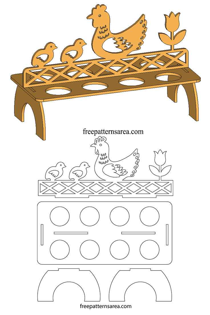 Egg Holder Stand Laser Cut Project Free Download