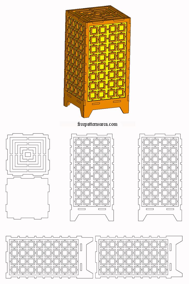 Laser Cut Light Box Amp Table Lamp Dxf Plan Freepatternsarea