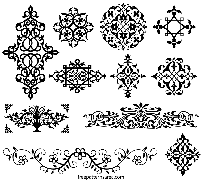 Wall Stencil Pattern Download : Damask wall stencil and stickers vector pattern
